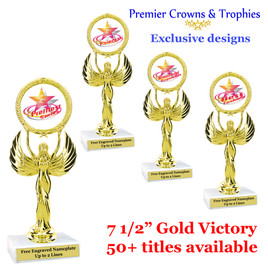 Star and Swirls themed trophy.  Choice of 50+ titles available.