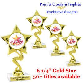 Star and Swirls themed trophy.  Choice of 50+ titles available. (80106