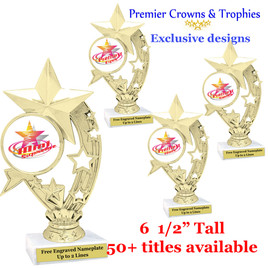 Star and Swirls themed trophy.  Choice of 50+ titles available. (H208)