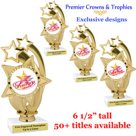 Star and Swirls themed trophy.  Choice of 50+ titles available. (PH55)