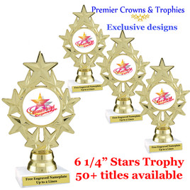Star and Swirls themed trophy.  Choice of 50+ titles available. (PH75)
