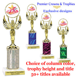 """Star and Swirls themed one column trophy.  Choice of trophy height, column color and title.  Over 50+ titles available.  Trophy height starts at 10"""""""