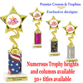 """Star and Swirls themed one column trophy.  Choice of trophy height, column color and title.  Over 50+ titles available.  Trophy height starts at 10""""   (80106)"""