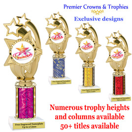 """Star and Swirls themed one column trophy.  Choice of trophy height, column color and title.  Over 50+ titles available.  Trophy height starts at 10""""   (ph55)"""