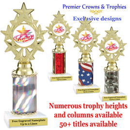 """Star and Swirls themed one column trophy.  Choice of trophy height, column color and title.  Over 50+ titles available.  Trophy height starts at 10""""   (ph75)"""