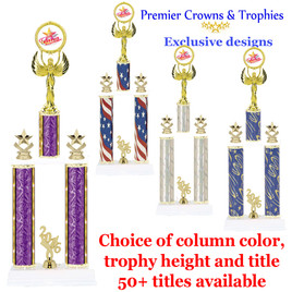 Star and Swirls themed 2 column trophy.  Choice of column color, trophy height and title.  Over 50+ titles available.
