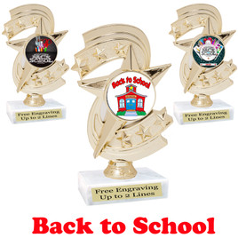 Back to School themed trophy.  9 Designs available. (H300)
