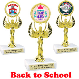 "6.5"" tall  Back to School themed trophy.  9 Designs available. (80087)"