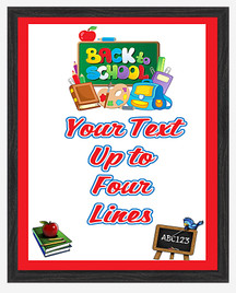 Back to School theme Custom Full Color Plaque .  Black plaque with full color plate. 3 Plaques sizes available