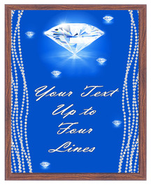 Diamond theme Custom Full Color Plaque .  Brown plaque with full color plate. 5 Plaques sizes available