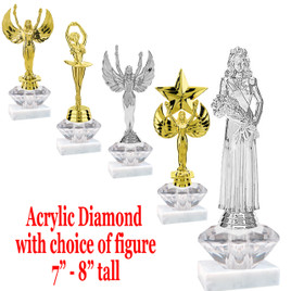 """Acrylic Diamond riser with choice of figure.  Trophy height average 8"""" tall*  Numerous figures available."""