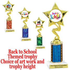 """BTS Theme one column trophy.  Choice of art work, column color and trophy height.  Trophy height starts at 10"""" tall."""