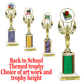 """BTS Theme one column trophy.  Choice of art work, column color and trophy height.  Trophy height starts at 10"""" tall. (80087)"""