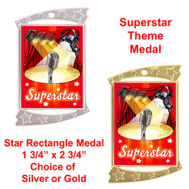 Rectangle Medal with Microphone and Superstar theme art work.  Choice of gold or silver finish.  Includes free engraving and neck ribbon