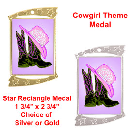"Rectangle Medal with ""Boots and Crown"" theme art work.  Choice of gold or silver finish.  Includes free engraving and neck ribbon"
