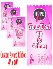 """Awareness theme custom award ribbon.  4"""" wide x 10"""" long.  Customize with up to 4 lines of your custom text.  (AW01)"""
