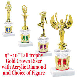 """Gold Crown base with acrylic diamond riser and choice of figure.  Numerous figures and crown colors available.  9"""" - 10"""" tall."""
