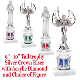 """Silver Crown base with acrylic diamond riser and choice of figure.  Numerous figures and crown colors available.  9"""" - 10"""" tall."""