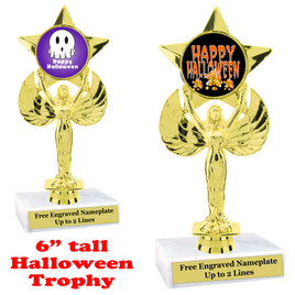 Halloween theme trophy.  Choice of art work and base.  9 designs available.