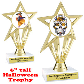 "6 1/2"" tall  Halloween theme trophy.  Choice of art work and base.  9 designs available."