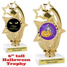 "6 1/2"" tall  Halloween theme trophy.  Choice of art work and base.  9 designs available.(ph55)"