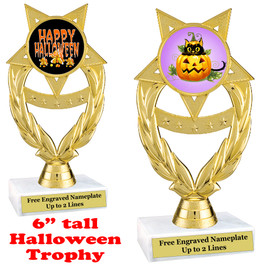 "6 1/2"" tall  Halloween theme trophy.  Choice of art work and base.  9 designs available.(ph97)"