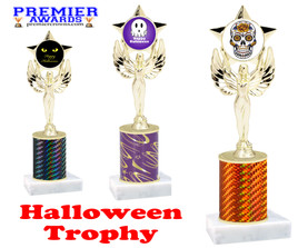Halloween theme trophy.  One column with choice of column color, art work and trophy height.  Numerous heights available.