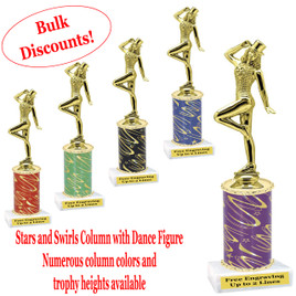 Dance trophy.  Stars and Swirls column with Dance action figure.  Choice of column color, base and trophy height.  Numerous trophy heights available.  (ssd02)