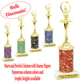 Dance trophy.  Stars and Swirls column with Dance action figure.  Choice of column color, base and trophy height.  Numerous trophy heights available.  (ssd03)