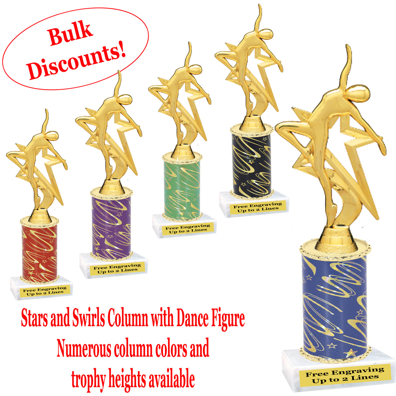Dance trophy  Stars and Swirls column with Dance action figure  Choice of  column color, base and trophy height  Numerous trophy heights available