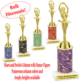 Dance trophy.  Stars and Swirls column with Dance action figure.  Choice of column color, base and trophy height.  Numerous trophy heights available.  (ssd05)