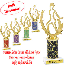 Dance trophy.  Stars and Swirls column with Dance action figure.  Choice of column color, base and trophy height.  Numerous trophy heights available.  (ssd06)