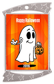 "1 3/4"" x 2 3/4"" Silver Rectangle Halloween theme medal.  Includes free engraving and free neck ribbon"