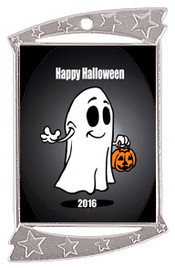 "1 3/4"" x 2 3/4"" Silver Rectangle Halloween theme medal.  Includes free engraving and free neck ribbon (02)"