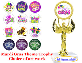 """Mardi Gras Theme Trophy with choice of art work.  7 1/2"""" tall.  (80087)"""