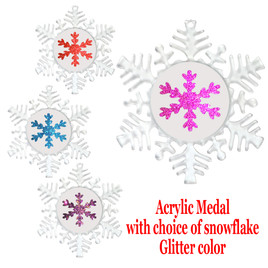 "Clear acrylic Snowflake Medal with choice of  glitter snowflake insert.  4 1/8"" diameter.  Great award for your winter - Christmas event.  Includes free engraving on back of medal and  neck ribbon."