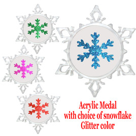 """Clear acrylic Snowflake Medal with choice of snowflake glitter color.  3  5/8"""" diameter.  Great award for your winter - Christmas event.  Includes free engraving on back of medal and  neck ribbon.   (002)"""