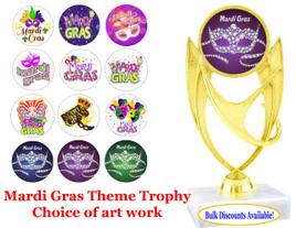 "Mardi Gras Theme Trophy with choice of art work.  5 3/4"" tall.  (ph28)"
