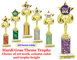 Mardi Gras Theme 1 column trophy.  Choice of column color, art work, trophy height and base.  Great award for your Mardi Gras and Carnival theme events.  (7517)