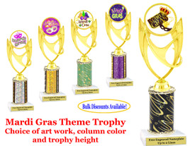 Mardi Gras Theme 1 column trophy.  Choice of column color, art work, trophy height and base.  Great award for your Mardi Gras and Carnival theme events.  (ph28)