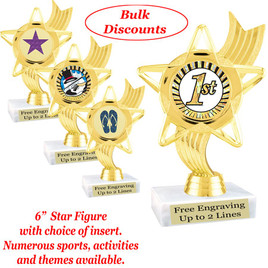 """6""""  trophy with choice of insert.  Numerous sports, activities and themes available.  (ph27)   Bulk discount available."""