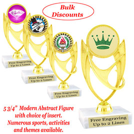 """5  3/4""""  trophy with choice of insert.  Numerous sports, activities and themes available.  (ph28)   Bulk discount available."""