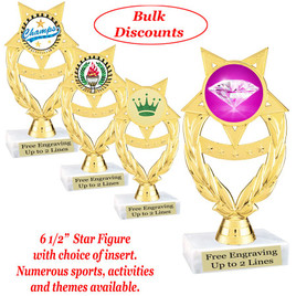 """6 1/2""""  trophy with choice of insert.  Numerous sports, activities and themes available.  (ph97)   Bulk discount available."""