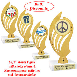 """6 1/2""""  trophy with choice of insert.  Numerous sports, activities and themes available.  (ph102)   Bulk discount available."""