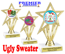 """Ugly Christmas Sweater Trophy.   6 1/2"""" tall.  Includes free engraving.  (ph30) A Premier exclusive design!"""