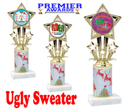 Ugly Sweater theme trophy. Choice of art work.  Multiple trophy heights available.  767