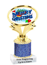 """Winter - Christmas theme rhinestone trophy.  5"""" tall and includes free engraved name plate.  Add some bling to your next event!"""