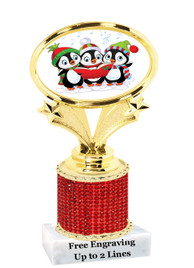 """Winter - Christmas theme rhinestone trophy.  5"""" tall and includes free engraved name plate. (002)   Add some bling to your next event!"""