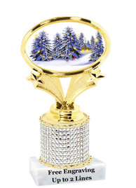 """Winter - Christmas theme rhinestone trophy.  5"""" tall and includes free engraved name plate. (003)   Add some bling to your next event!"""