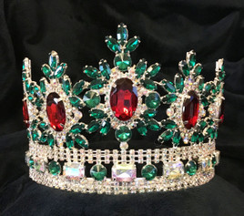 "Beautiful 4"" crown with adjustable band.  Green, Red, Clear and AB Stones.  (sh-0100)"